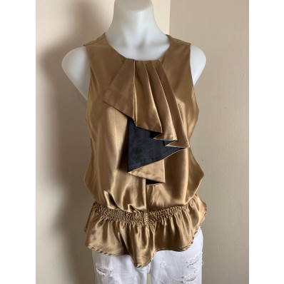 REVIEW Gold Satin Ruffle Blouse Top Size 10